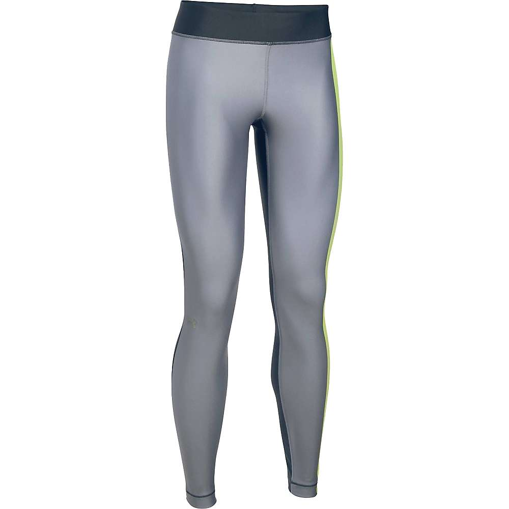 Under Armour Women's UA HeatGear Armour Engineered Legging - XL - Carbon Heather / X-Ray / Metallic Silver