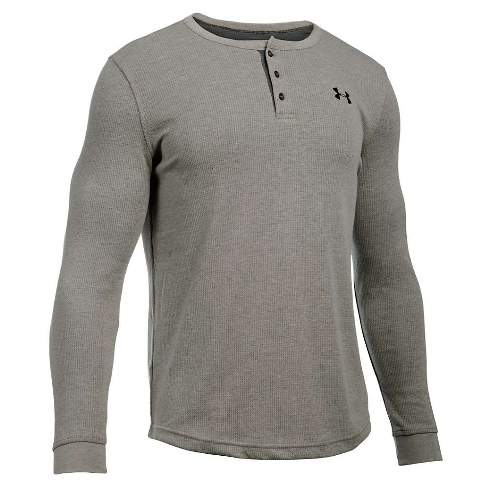 Under Armour Men's UA Waffle Henley - XL - Carbon Heather / Charcoal / Black