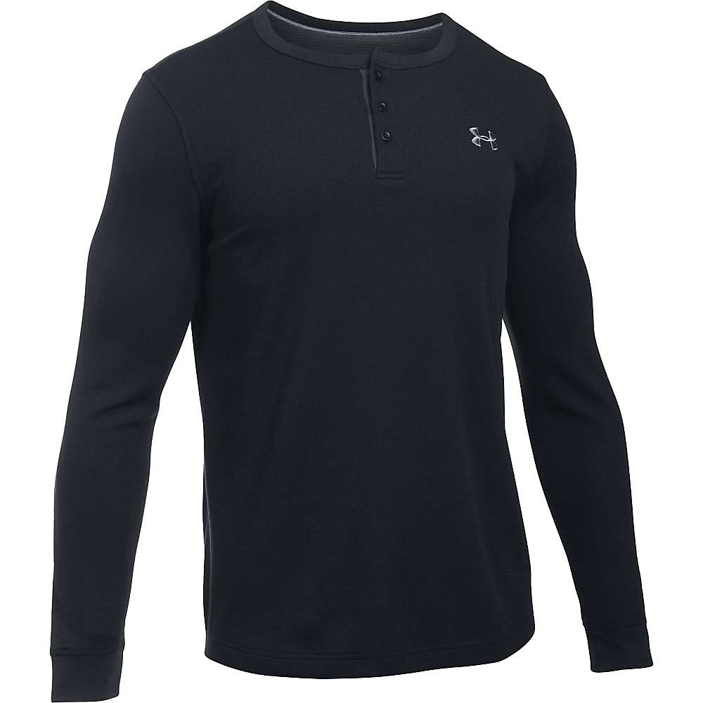 Under Armour Men's UA Waffle Henley - Small - Black / Stealth Gray / Steel