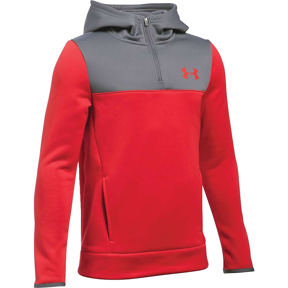 Under Armour Boys' Armour Fleece Storm 1/4 Zip Hoodie - Small - Red / Graphite / Black