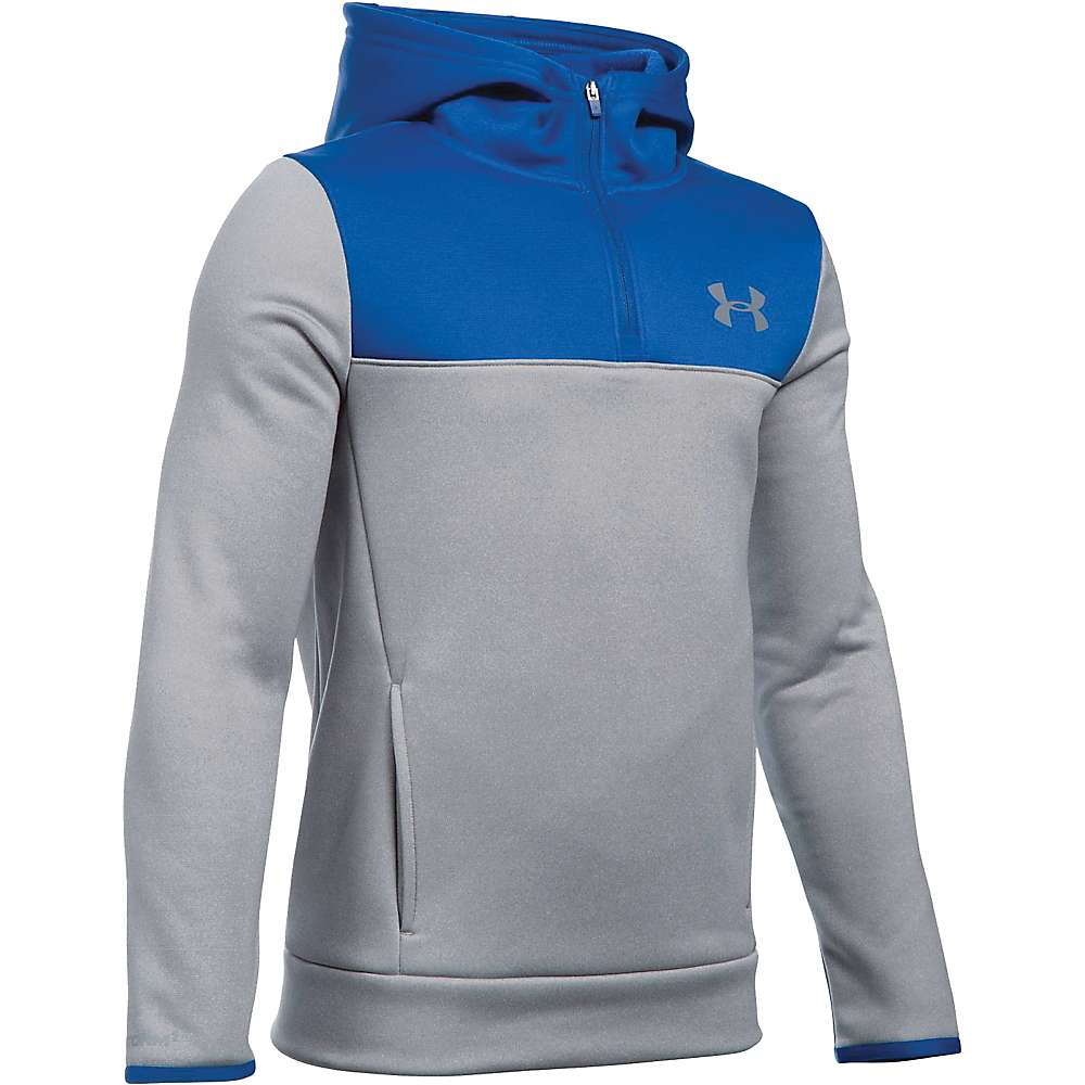 Under Armour Boys' Armour Fleece Storm 1/4 Zip Hoodie - XL - True Gray Heather / Royal / Steel