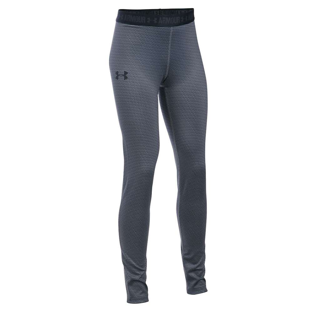 Under Armour Girls' Heatgear Armour Printed Legging - XS - Stealth Gray / Black / Black