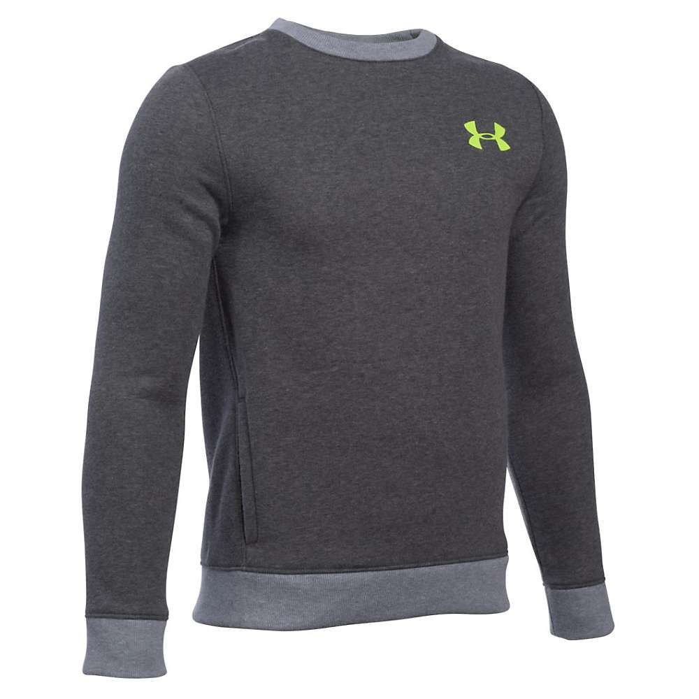 Under Armour Boys' Sportstyle Crew - Small - Carbon Heather / True Gray Heather / Fuel Green