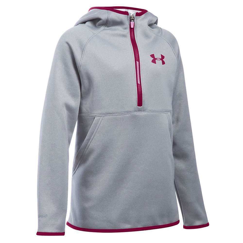 Under Armour Girls' Storm Armour Fleece 1/2 Zip Hoody - XS - True Gray Heather / Black Cherry / Black Cherry