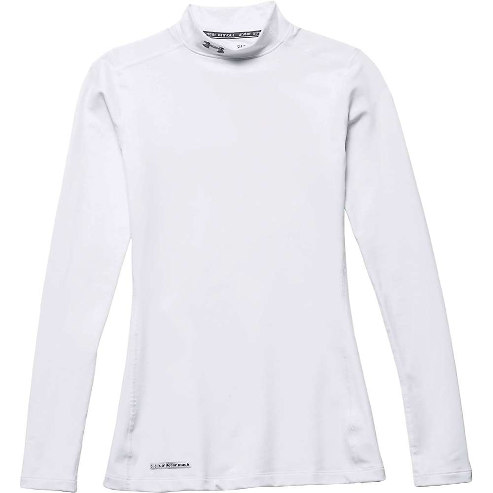 Under Armour Women's UA Coldgear Authentics Mock Neck Top - XXL - White / Metal