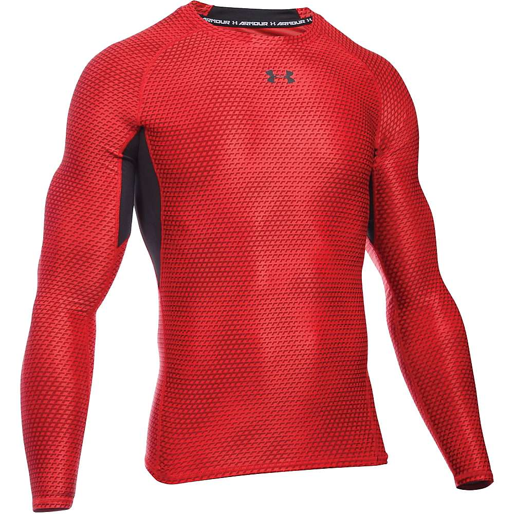Under Armour Men's UA HeatGear Armour Printed LS Tee - XXL - Red / Black