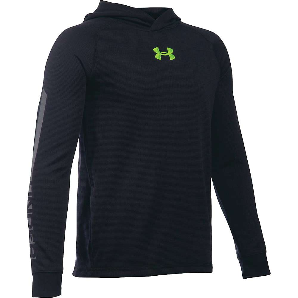 Under Armour Boys' Waffle Hoody - Medium - Black / Graphite / Fuel Green