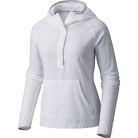 Mountain Hardwear Women's AC LS Hoody White Mountain Hardwear Women's AC LS Hoody - White - in stock now. FEATURES of the Mountain Hardwear Women's AC Long Sleeve Hoody All-over perforation Hidden snap placket Wick.Q moisture-wicking keeps you cool and dry Easy-care Unique perforation patterns to deliver optimal airflow where you need it most Wick.Q EVAP is the industry's leading wicking technology Dispersing moisture so it evaporates more quickly