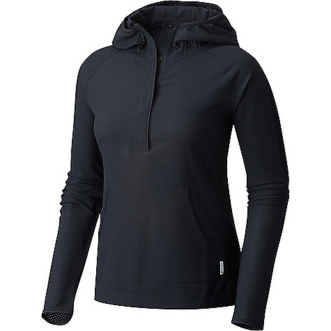 Mountain Hardwear Women's AC LS Hoody Black Mountain Hardwear Women's AC LS Hoody - Black - in stock now. FEATURES of the Mountain Hardwear Women's AC Long Sleeve Hoody All-over perforation Hidden snap placket Wick.Q moisture-wicking keeps you cool and dry Easy-care Unique perforation patterns to deliver optimal airflow where you need it most Wick.Q EVAP is the industry's leading wicking technology Dispersing moisture so it evaporates more quickly