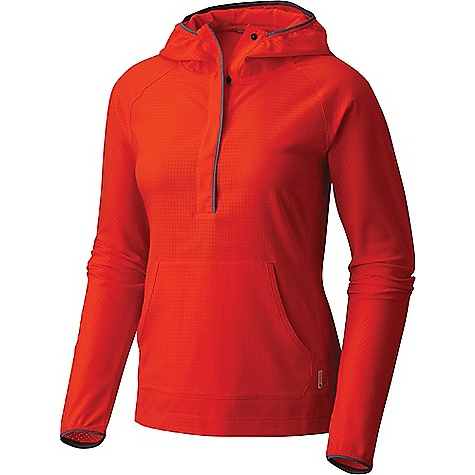 Mountain Hardwear Women's AC LS Hoody Fiery Red Mountain Hardwear Women's AC LS Hoody - Fiery Red - in stock now. FEATURES of the Mountain Hardwear Women's AC Long Sleeve Hoody All-over perforation Hidden snap placket Wick.Q moisture-wicking keeps you cool and dry Easy-care Unique perforation patterns to deliver optimal airflow where you need it most Wick.Q EVAP is the industry's leading wicking technology Dispersing moisture so it evaporates more quickly
