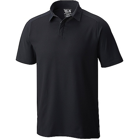 Mountain Hardwear Men's MHW AC SS Polo Black Mountain Hardwear Men's MHW AC SS Polo - Black - in stock now. FEATURES of the Mountain Hardwear Men's MHW AC Short Sleeve Polo All-over perforation woven fabric Hidden snap placket Wick.Q moisture-wicking keeps you cool and dry Easy-care Wick.Q EVAP is the industry's leading wicking technology Dispersing moisture so it evaporates more quickly