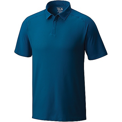 Mountain Hardwear Men's MHW AC SS Polo Phoenix Blue Mountain Hardwear Men's MHW AC SS Polo - Phoenix Blue - in stock now. FEATURES of the Mountain Hardwear Men's MHW AC Short Sleeve Polo All-over perforation woven fabric Hidden snap placket Wick.Q moisture-wicking keeps you cool and dry Easy-care Wick.Q EVAP is the industry's leading wicking technology Dispersing moisture so it evaporates more quickly