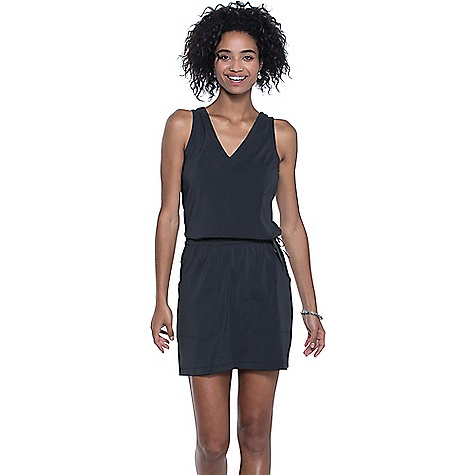 Toad & Co Women's Liv Dress Black Toad & Co Women's Liv Dress - Black - in stock now. FEATURES of the Toad & Co Women's Liv Dress UPF rated excellent 50+ Quick-dry stretch woven with DWR finish Bluesign approved fabric Bra-friendly straps Draw cord at waist Drop-in hand pockets Hidden zipper secure stash pocket at right side seam