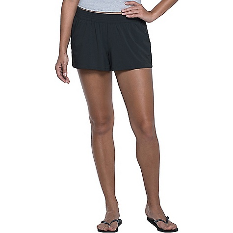 Toad & Co Women's Sunkissed Pull On Short Black Toad & Co Women's Sunkissed Pull On Short - Black - in stock now. FEATURES of the Toad & Co Women's Sunkissed Pull On Short UPF Rated excellent 50+ Solid colors: bluesign® approved fabric Quick-dry Moisture-wicking Water friendly Flounced silhouette Zipper secure back welt pocket