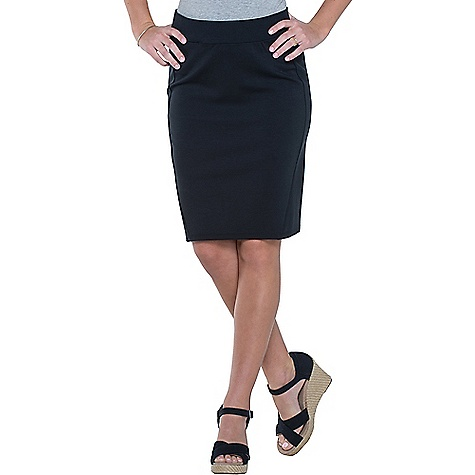 Toad & Co Women's Transita 21IN Skirt Black Toad & Co Women's Transita 21IN Skirt - Black - in stock now. FEATURES of the Toad & Co Women's Transita 21IN Skirt UPF rated excellent 50+ Pinstripe Elastic self-waistband Hidden zipper secure stash pocket at waistband Body-hugging pencil-skirt silhouette