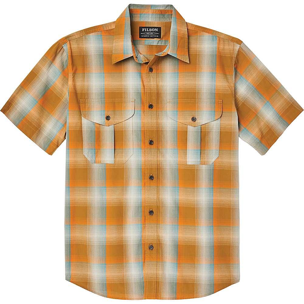 Coupons Filson Mens Short Sleeve Feather Cloth Shirt - Medium - Dark Gold / Pine Plaid