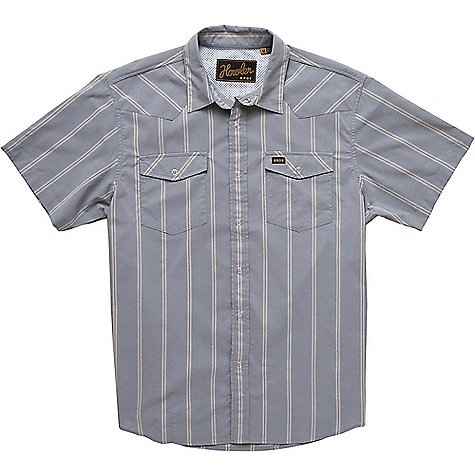 Howler Bros Men's H Bar B Tech Shirt Relic Stripe / Dove Grey Howler Bros Men's H Bar B Tech Shirt - Relic Stripe / Dove Grey - in stock now. FEATURES of the Howler Brothers Men's H Bar B Tech Shirt Quick drying cotton-poly blend Pearl snaps Wrinkle resistant Shirttail hem Sunglass-cleaning microfiber at hem Howler tie down woven labels