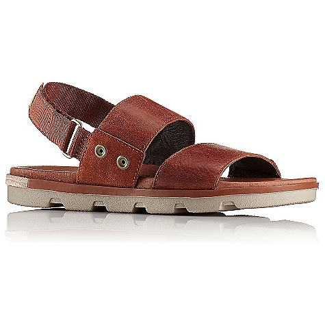 Sorel Women's Torpeda Sandal Rustic Brown / Fossil Sorel Women's Torpeda Sandal - Rustic Brown / Fossil - in stock now. FEATURES of the Sorel Women's Torpeda Sandal Upper: Leather, suede and cotton webbing combination Pigskin lining Footbed: PU like EVA with pigskin topcover Midsole: Molded rubber midsole Outsole: Molded rubber outsole; leather welt insert