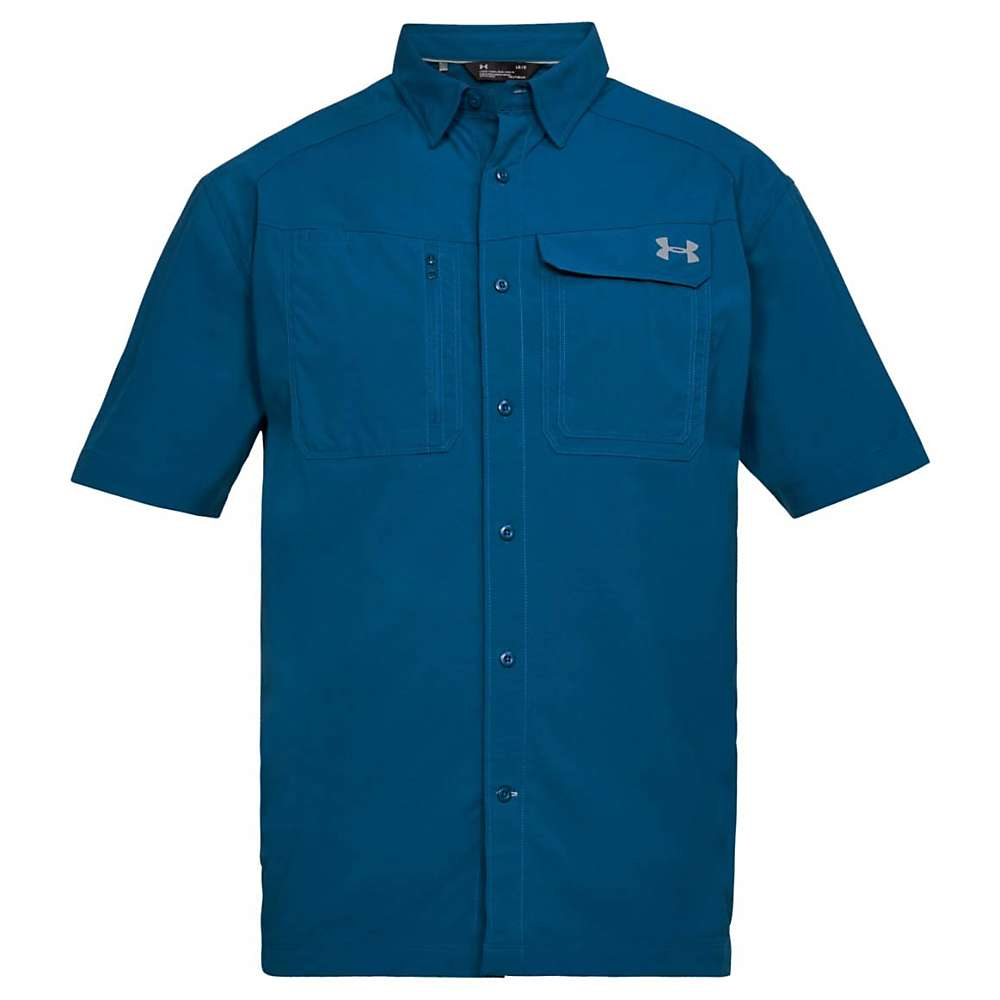 Under Armour Men's UA Fish Hunter SS Solid Shirt - XL - Moroccan Blue / Steel