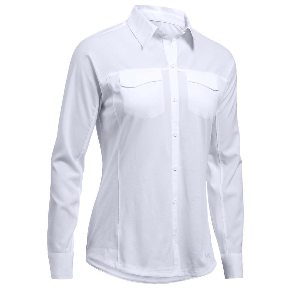 Under Armour Women's UA Fish Hunter Hybrid LS Shirt - Small - White / Glacier Grey