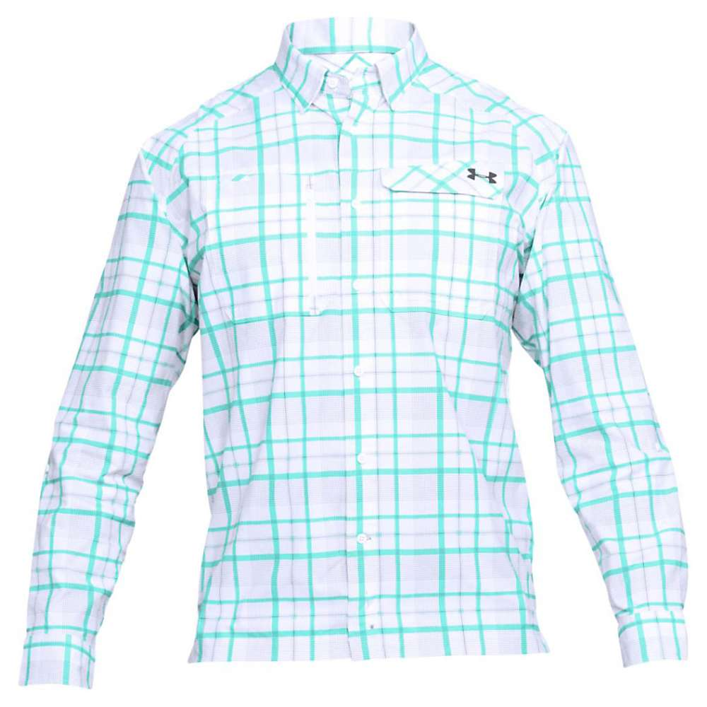 Under Armour Men's UA Fish Hunter LS Plaid Shirt - XL - White / Graphite