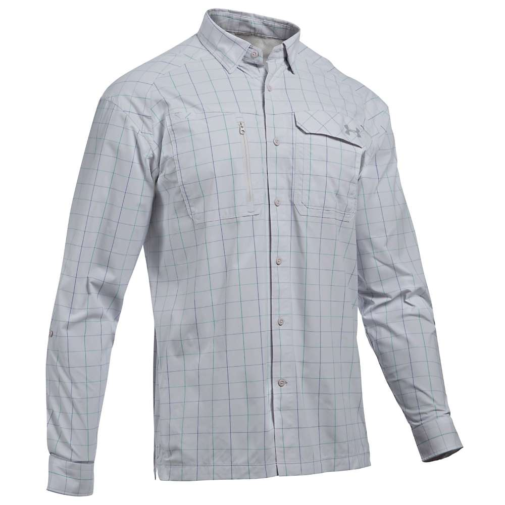 Under Armour Men's UA Fish Hunter LS Plaid Shirt - Large - Glacier Grey / Steel