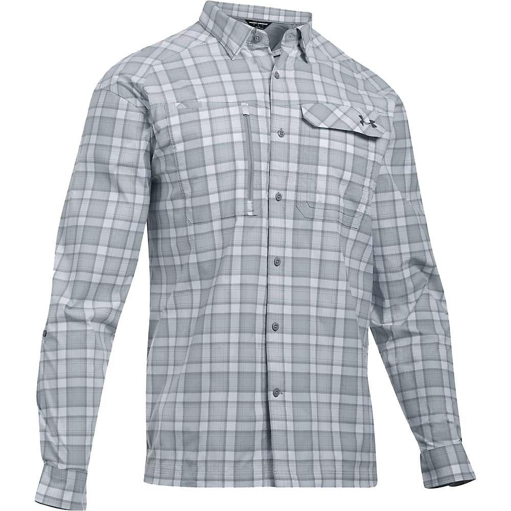 Under Armour Men's UA Fish Hunter LS Plaid Shirt - Small - Steel / Rhino Grey