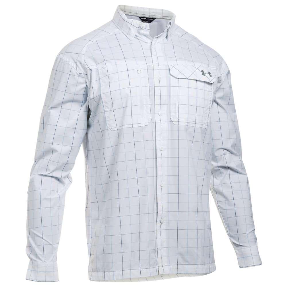 Under Armour Men's UA Fish Hunter LS Plaid Shirt - Small - White / Rhino Grey