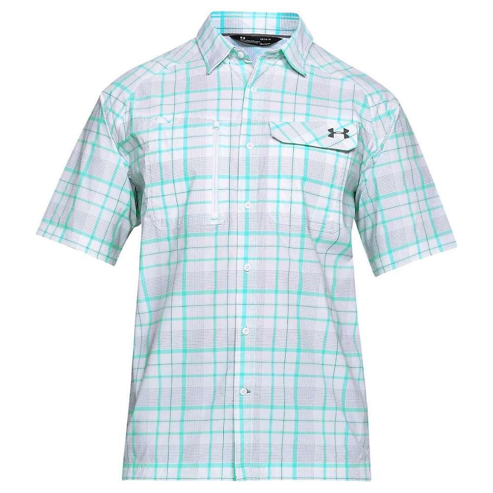 Under Armour Men's UA Fish Hunter SS Plaid Shirt - XL - White / Graphite