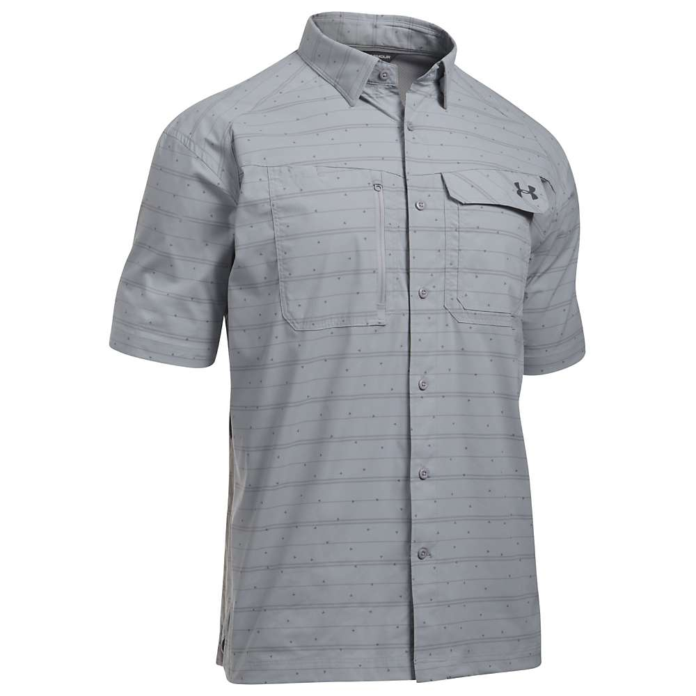 Under Armour Men's UA Fish Hunter SS Plaid Shirt - Small - Overcast Grey / Rhino Grey Stripe