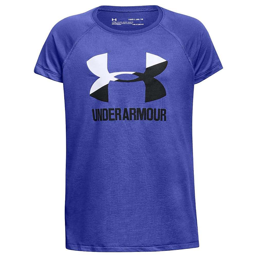 Under Armour Girls' UA Solid Big Logo SS Tee - Small - Constellation Purple / White / Black