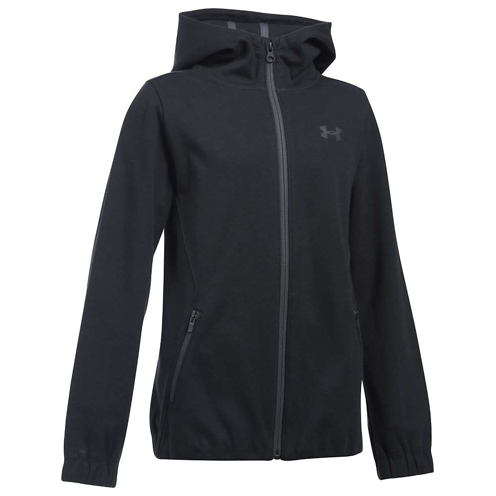 Under Armour Girls' UA Spring Swacket Full Zip Hoodie - Medium - Black / Rhino Grey / Rhino Grey