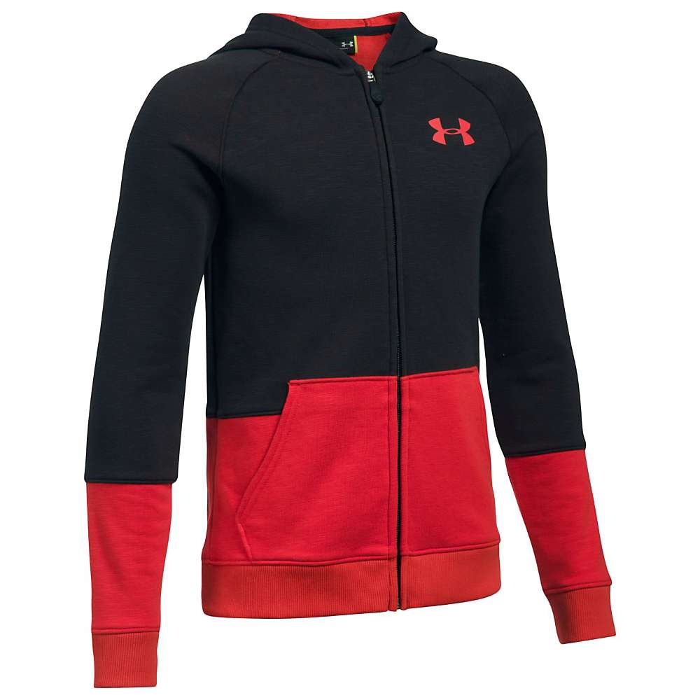 Under Armour Boys' UA Sportstyle Full Zip Hoodie - XL - Black Medium Heather / Red Medium Heather / Red