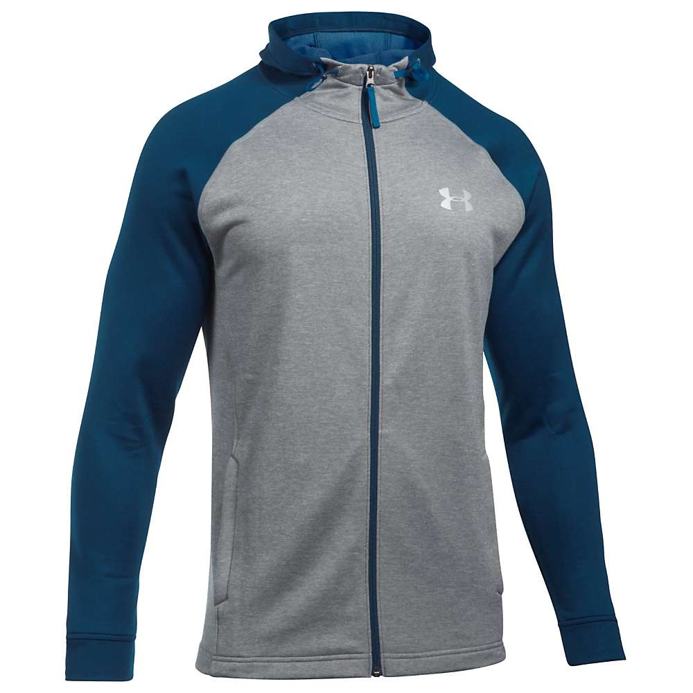 Under Armour Men's UA Tech Terry Full Zip Hoodie - Large Tall - True Grey Heather / Fire / Silver