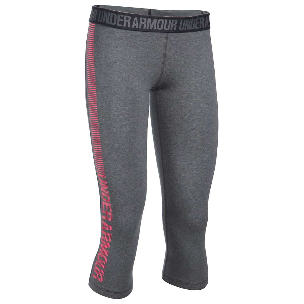 Under Armour Women's UA Favorite Graphic Capri - XL - Carbon Heather / Pink Shock / Pink Shock