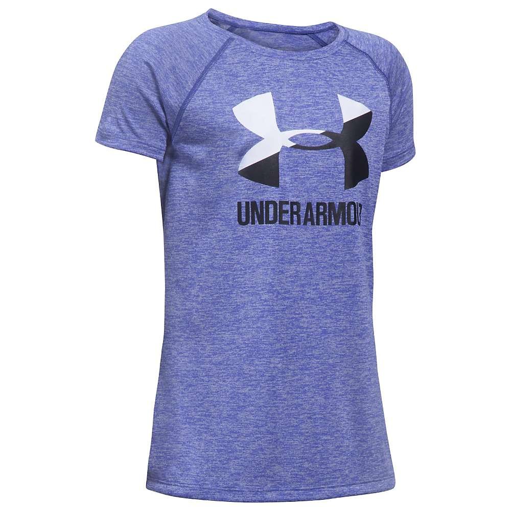 Under Armour Girls' UA Novelty Big Logo SS Tee - XL - 530 Constellation Purple / White / Black
