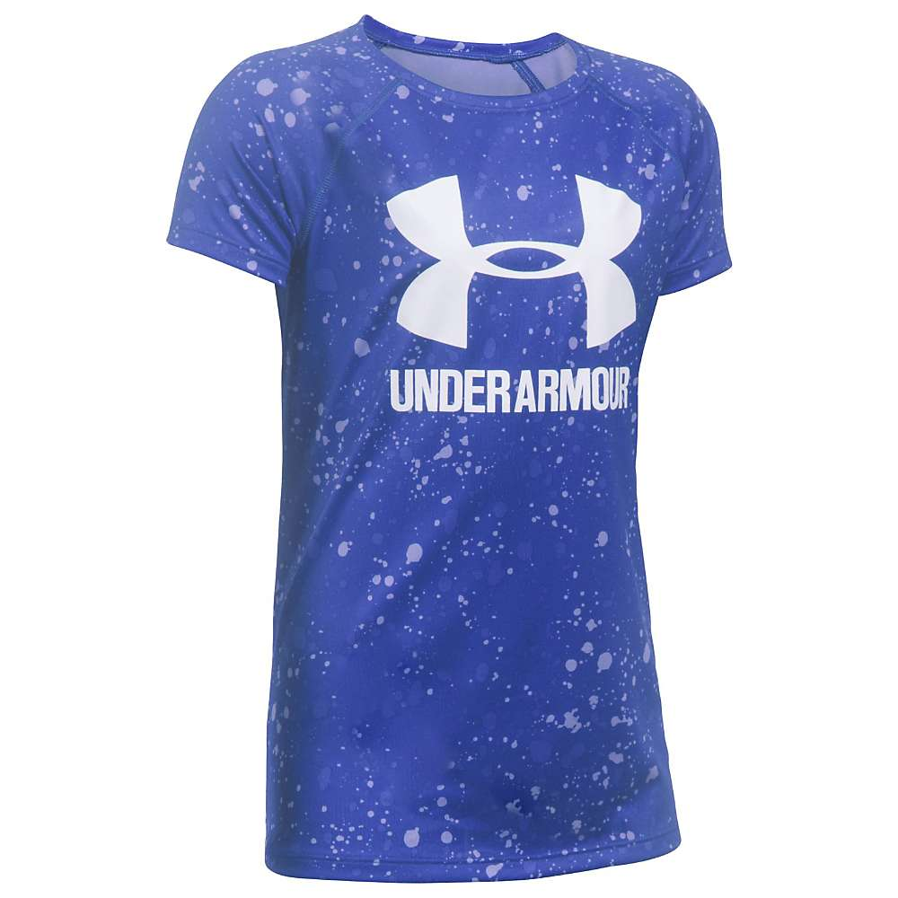 Under Armour Girls' UA Novelty Big Logo SS Tee - XL - 531 Constellation Purple / White / White