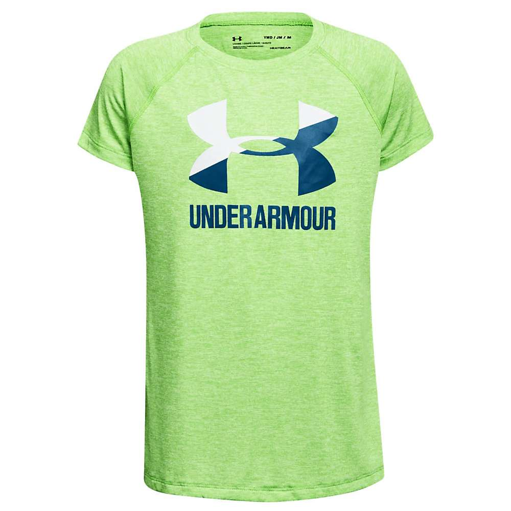 Under Armour Girls' UA Novelty Big Logo SS Tee - Medium - Arena Green / White / Moroccan Blue