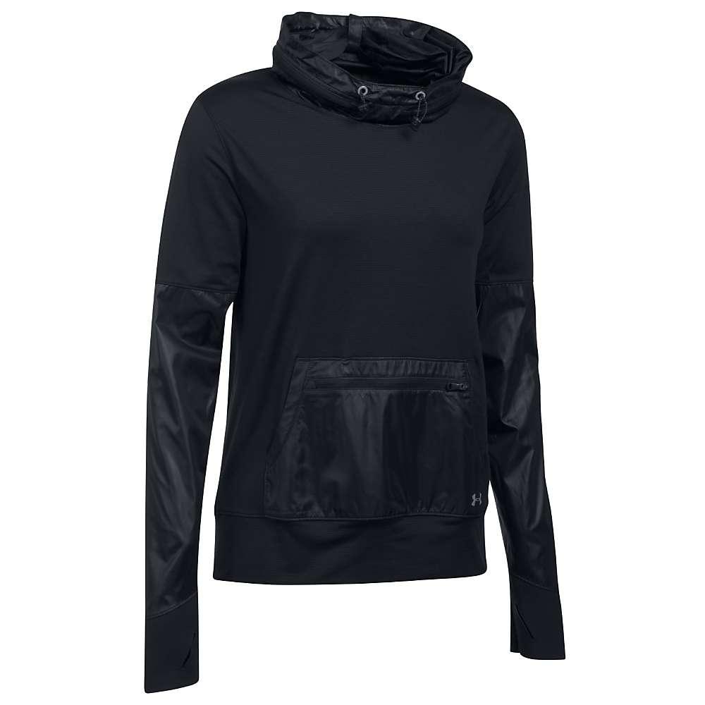 Under Armour Women's Threadborne Hybrid Pullover Top - XS - Black / Black / Reflective