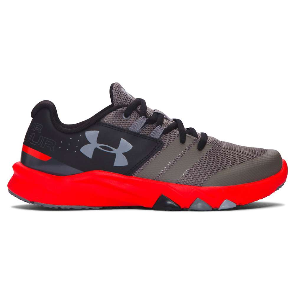 Under Armour Boys' UA BGS Primed Shoe - 6 - Graphite / Anthem Red / Steel