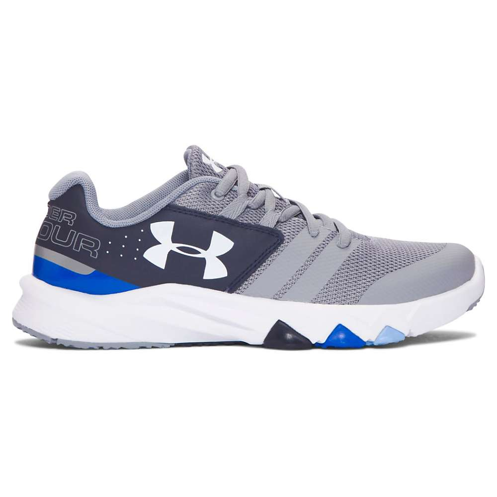 Under Armour Boys' UA BGS Primed Shoe - 6 - Steel / Midnight Navy / White