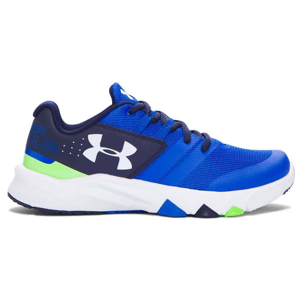 Under Armour Boys' UA BGS Primed Shoe - 6.5 - Ultra Blue / Midnight Navy / White