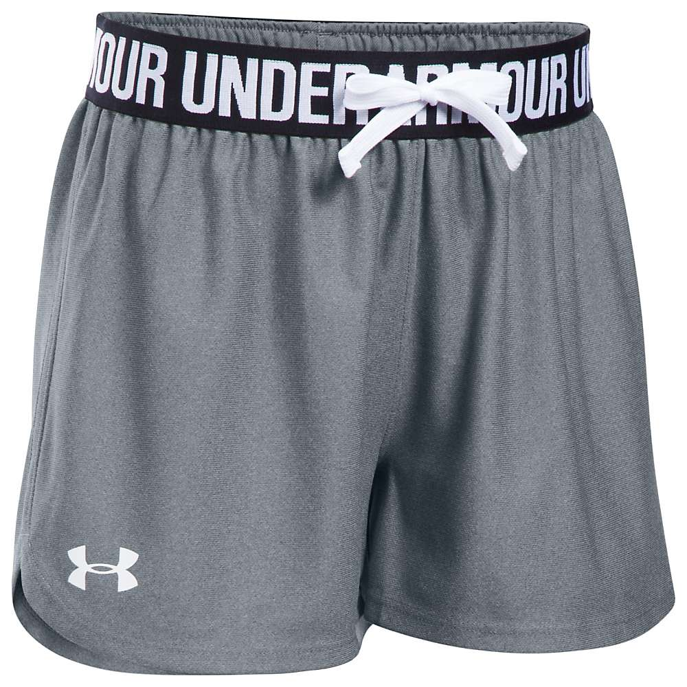 Under Armour Girls' UA Play Up Short - Medium - Steel / Black / White