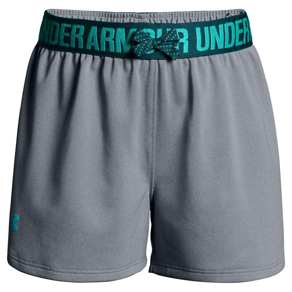 Under Armour Girls' UA Play Up Short - Small - Steel Light Heather / Tourmaline Teal / Teal Punch