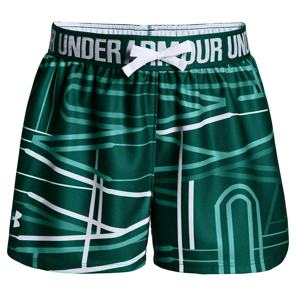 Under Armour Girls' UA Play Up Printed Short - Small - Tourmaline Teal / White