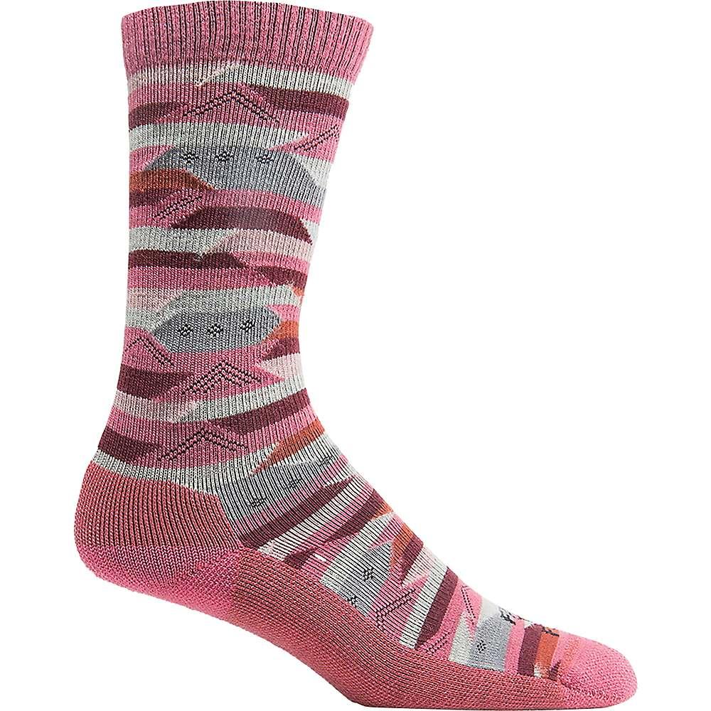 Farm To Feet Women's Billings Blanket Stripe LW Crew Sock - Small - Carmine