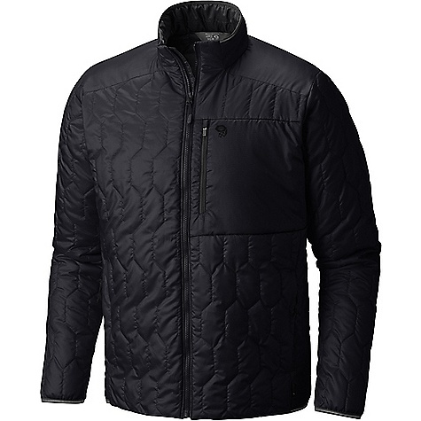 Mountain Hardwear Men's Thermostatic Jacket Black Mountain Hardwear Men's Thermostatic Jacket - Black - in stock now. FEATURES of the Mountain Hardwear Men's Thermostatic Jacket Thermal?Q Elite replicates the structure of down for the highest warmth-to-weight ratio available in synthetic insulation Incredibly light and packable, even pocketable 22D Sensor Ripstop fabric is reinforced to prevent tearing and ripping Zippered hand-warmer pockets and zippered left chest pocket Reflective trim at cuff , hem, and neck Soft and comfortable
