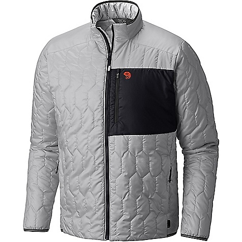 Mountain Hardwear Men's Thermostatic Jacket Grey Ice Mountain Hardwear Men's Thermostatic Jacket - Grey Ice - in stock now. FEATURES of the Mountain Hardwear Men's Thermostatic Jacket Thermal?Q Elite replicates the structure of down for the highest warmth-to-weight ratio available in synthetic insulation Incredibly light and packable, even pocketable 22D Sensor Ripstop fabric is reinforced to prevent tearing and ripping Zippered hand-warmer pockets and zippered left chest pocket Reflective trim at cuff , hem, and neck Soft and comfortable
