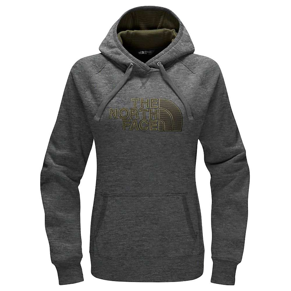 The North Face Women's Avalon Half Dome Pullover Hoodie - XL - TNF Medium Grey Heather / Forest Night Green Strp