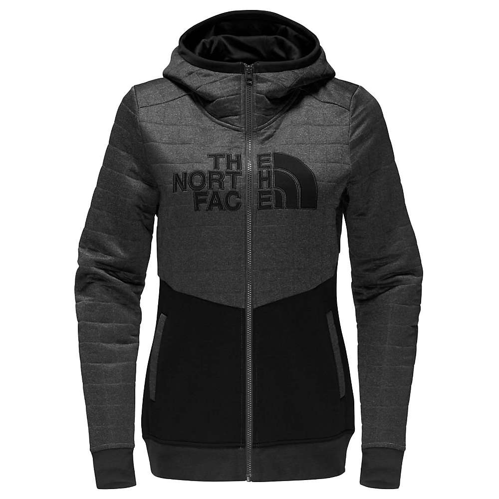 The North Face Women's Half Dome Quilted Full Zip Hoodie - Small - TNF Dark Grey Heather / TNF Black